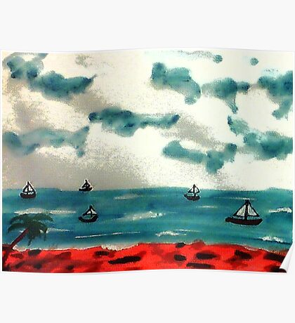 A day to go sailing, watercolor Poster