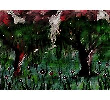 Weeping willows in the flood zone, but romantic, watercolor Photographic Print