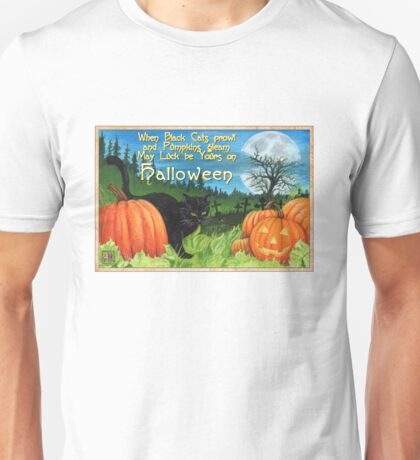 When Black Cats prowl on Halloween Unisex T-Shirt