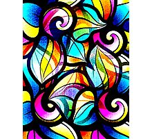 Colorful Stained Glas Like Abstract Swirls Photographic Print