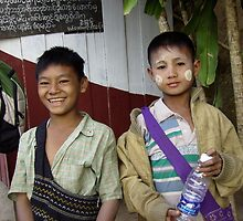 Faces of Burma: Imps at the truck stop by Lynda Earley