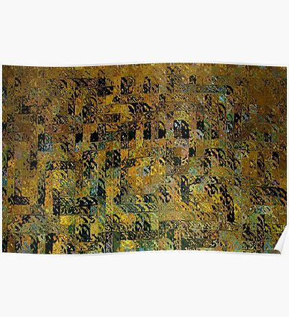 Abstract Golden Blocks Mosaic Poster