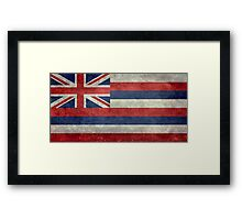 State Flag of Hawaii,  retro style vintage 1-2 scale version Framed Print
