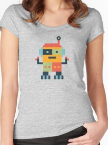 Happy Robot Pattern Women's Fitted Scoop T-Shirt
