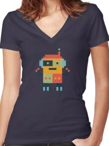 Happy Robot Pattern Women's Fitted V-Neck T-Shirt