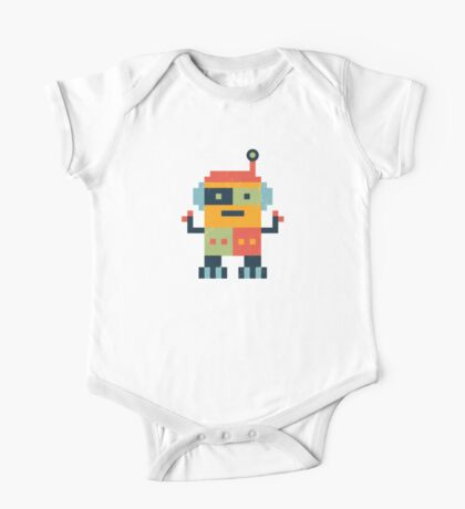 Happy Robot Pattern One Piece - Short Sleeve