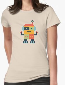 Happy Robot Pattern Womens Fitted T-Shirt