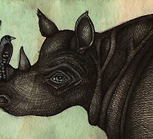 Rhino & Bird by Lynnette Shelley