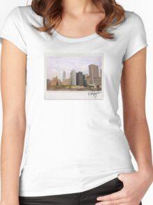New York Skyline Polaroid Women's Fitted Scoop T-Shirt