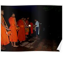 Buddhist Monks in the Early Morning Poster
