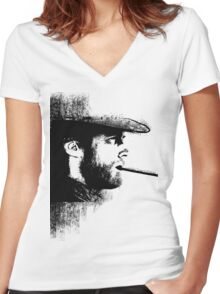 THE MAN WITH NO NAME Women's Fitted V-Neck T-Shirt