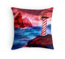 Lighthouse on stormy night, watercolor Throw Pillow