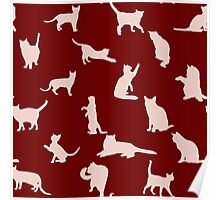 Cats Pattern: Red Poster