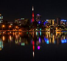 Perth Night Skyline by Rob Hawkins