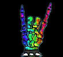 HEAVY METAL HAND SIGN - rainbow cubes by butterflyscream