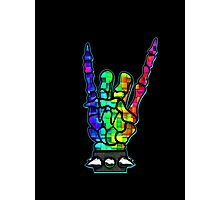 HEAVY METAL HAND SIGN - rainbow cubes Photographic Print