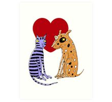 Opposites Attract Cat and Dog Art Print