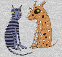 Opposites Attract Cat and Dog One Piece - Long Sleeve