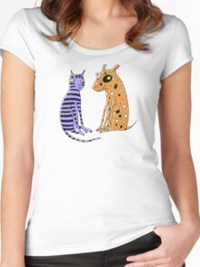 Opposites Attract Cat and Dog Women's Fitted Scoop T-Shirt