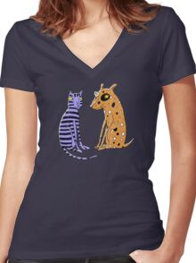 Opposites Attract Cat and Dog Women's Fitted V-Neck T-Shirt