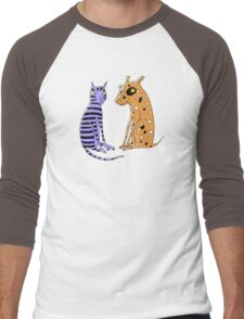 Opposites Attract Cat and Dog Men's Baseball ¾ T-Shirt