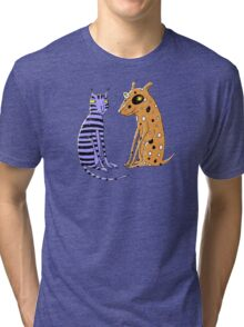 Opposites Attract Cat and Dog Tri-blend T-Shirt
