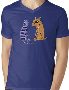 Opposites Attract Cat and Dog Mens V-Neck T-Shirt