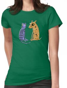 Opposites Attract Cat and Dog Womens Fitted T-Shirt