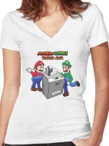 Mario and Luigi Paper Jam Women's Fitted V-Neck T-Shirt
