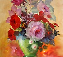 Red Roses in Painted Vase by IlonaT