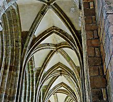 Vaulted ceiling, Mont Saint Michel, France by buttonpresser