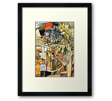 Woman with Curlers Smoking a Cigarette. Framed Print