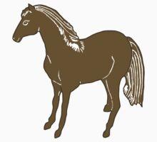 Brown Horse Printmaking Art One Piece - Long Sleeve