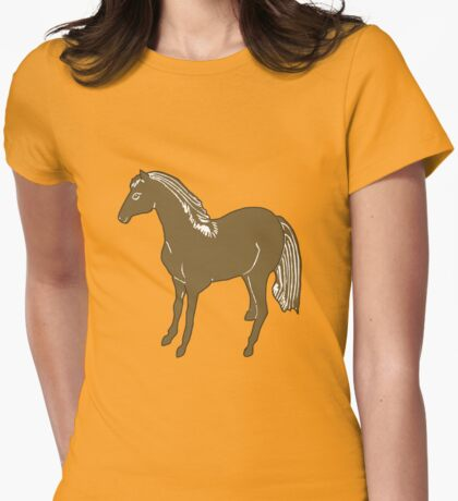Brown Horse Printmaking Art Womens Fitted T-Shirt