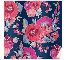 Janis Flower Navy Ikat Floral Poster