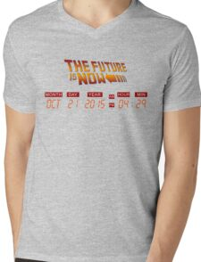 Back to The Future is Now Panel Time Mens V-Neck T-Shirt