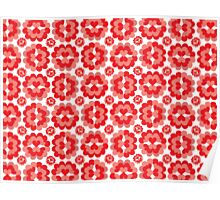 Heart Fan Flower Pattern Poster