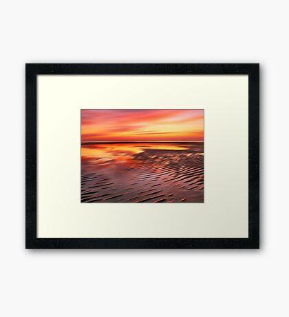 Beach Ripples Sunset Framed Print