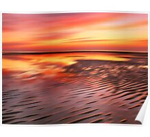 Beach Ripples Sunset Poster
