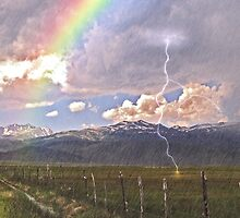 Bridgeport, Ca, with lightning,rainbow, and rain by the57man