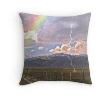Bridgeport, Ca, with lightning,rainbow, and rain Throw Pillow