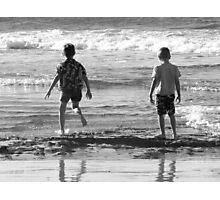 Two boys and a beach Photographic Print