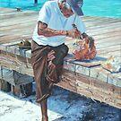 Isla Mujeres Elder Chiseling Conch by Peggy Selander