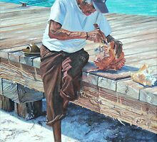 Isla Mujeres Elder Chiseling Conch by Peggy Selander