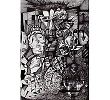 Ink Drawing of  a Contemporary Thought (and a random sketch of a washing machine).. Photographic Print
