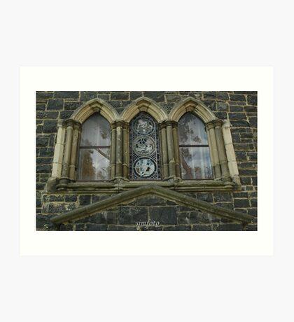 reflections in the church windows Art Print