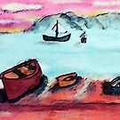 Boats waiting to go out, tomorrow, watercolor by Anna  Lewis