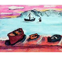 Boats waiting to go out, tomorrow, watercolor Photographic Print