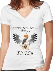 Look For New Ways To Fly Women's Fitted V-Neck T-Shirt