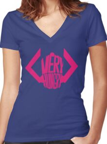He is very, VERY hungry. Women's Fitted V-Neck T-Shirt